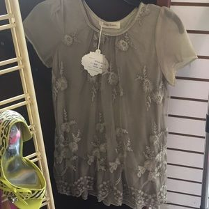 Simply Couture size S color khaki see thru arms
